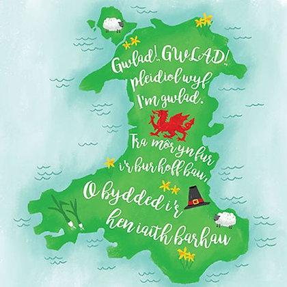 Cargen Gwlad Gwlad Pleidiol wyf i'm gwlad/ Welsh Anthem Chorus Card