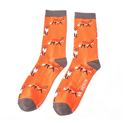 Mr Heron Bamboo Socks - Fox Orange Mens