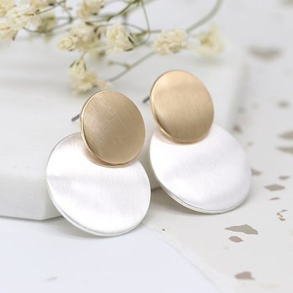 Brushed gold and silver plated double disc earrings 03280