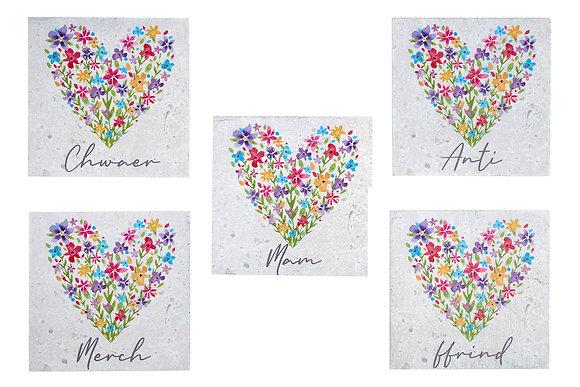 Welsh floral heart coasters - Ffrind, Anti, Mam, Merch, Chwaer