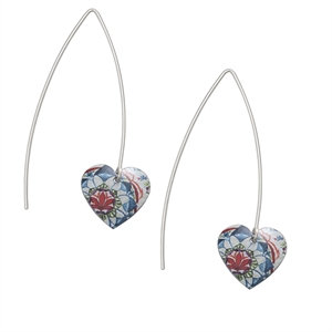 Kate HH Studio Lotus Long Round Heart Earrings