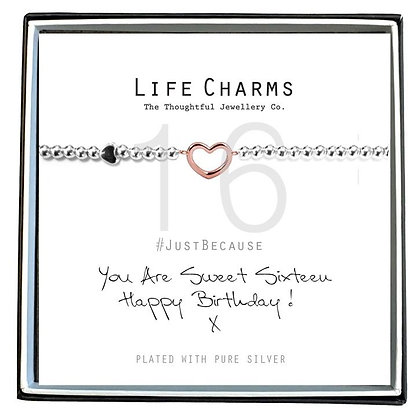 Life Charms Silver Plated Bracelet - You are Sixteen Happy Birthday! 16