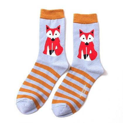 Miss Sparrow Bamboo Fox & Stripes Socks Powder Blue