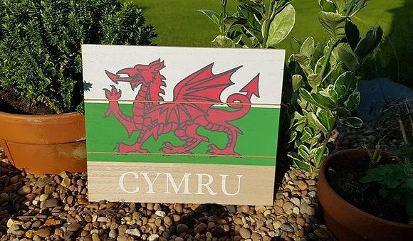 Cymru (Wales) sign - Welsh flag