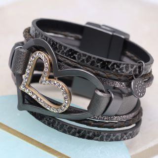 Dark grey layered bracelet with double heart and crystal - 03249