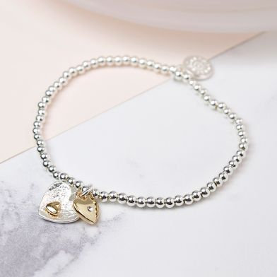 POM Silver and gold plated double heart charm bracelet