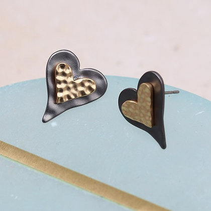 Double heart stud earrings with mixed metallic finishes - 03246