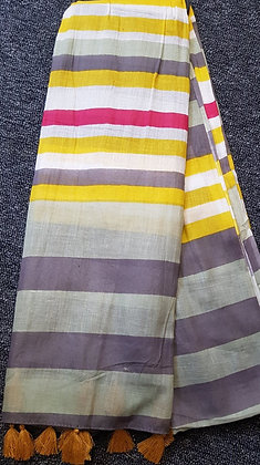 Cotton scarf with Mustard, Sage Green, Grey and Red Strip stripes