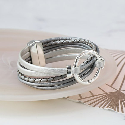 Metallic grey leather bracelet with silver plated hoop