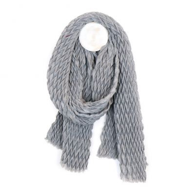 Mid grey soft scarf with zig-zag pleated texture