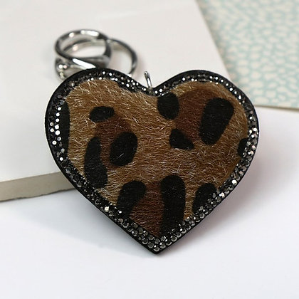 Animal print and crystal heart shaped keyring in camel 90059