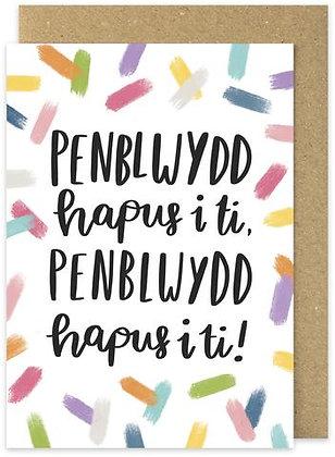 Penblwydd Hapus/Happy Birthday card