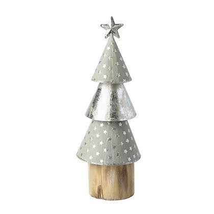 Metal Silver Cone Tree On Log