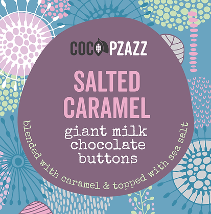 Coco Pzazz - Giant Milk Chocolate Buttons – Salted Caramel 96g