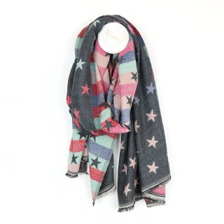Grey Multicoloured Pastel Jacquard Stars Scarf