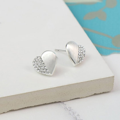 Silver plated brushed heart earrings half inset with crystals