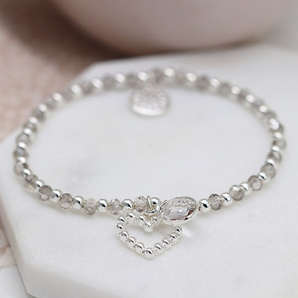 Silver and smoky bead bracelet with crystal drop and heart charm 03269