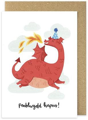 Draig Goch Penblwydd Hapus card
