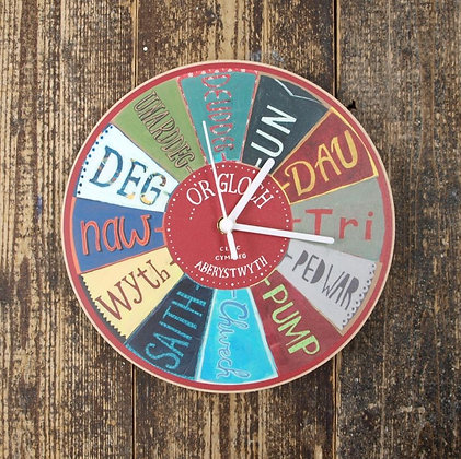 Driftwood Design Cloc Cymraeg Coch – Welsh Clock in Red