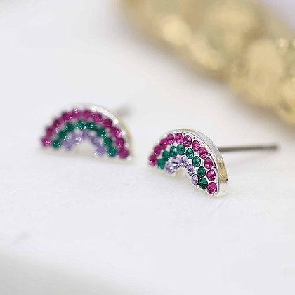 Silver plated pink and green crystal Rainbow earrings