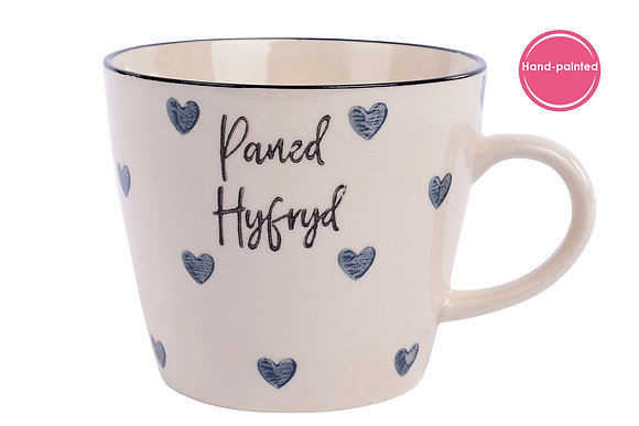 "Hand painted ""Paned Hyfryd"" (lovely cuppa)Mug"