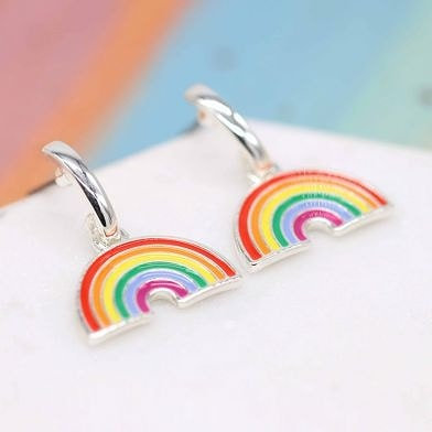 Silver plated and enamel rainbow earrings