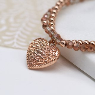 Rose gold and crystal bead bracelet with textured heart charm 03268