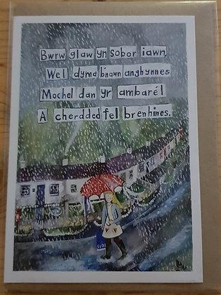 Lizzie Spikes Driftwood designs card - Bwrw Glaw yn sobor iawn