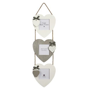 Triple heart hanging photo frame