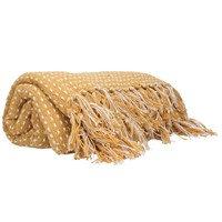 Cotton Throw 1.5m - Mustard/Stab Stitch