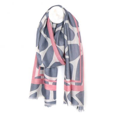 Grey and pink graphic print scarf  51393