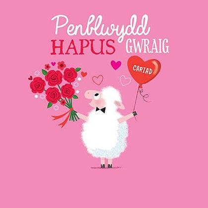 Carden Penblwydd Hapus Gwraig/ Happy Birthday Card - Wife