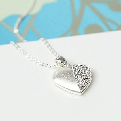 Silver plated brushed heart necklace half inset with crystals