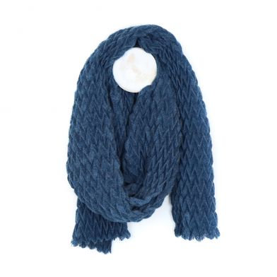 Denim blue soft scarf with zig-zag pleated texture