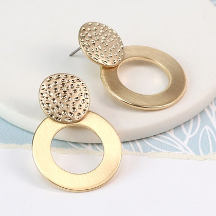 Gold plated brushed hoop and textured disc earrings - 03137