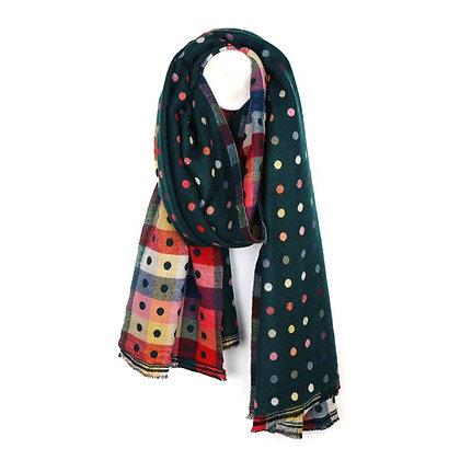 Green multicoloured reversible jacquard dotty scarf