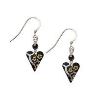Kate HH Studio Willow Slim Heart Earrings & Crystal