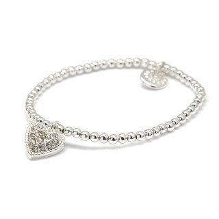 Silver plated bracelet with crystal inset heart 03223