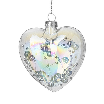 Glass heart bauble with beaded interior