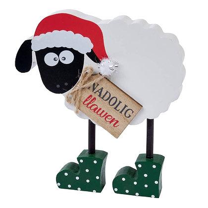 Dafad Nadolig Llawen/Christmas welsh sheep block
