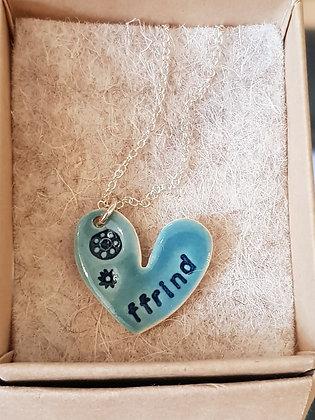 Katy Mai - Mwclis Cymraeg / Welsh Necklace - Ffrind (Friend) Aqua