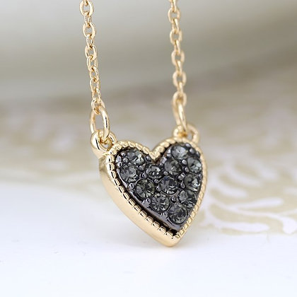Gold plated heart necklace with black crystal centre 03219