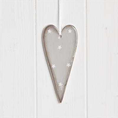 Ceramic grey  hanging heart with white star 13cm