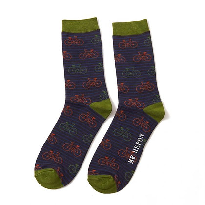 Mr Heron Bamboo Socks - Stripes &  Bikes Black - Mens
