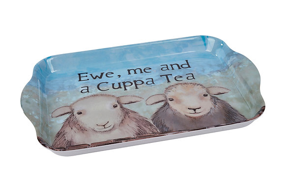 "Sheep Melamine Tray ""Ewe, me and a Cuppa Tea"""