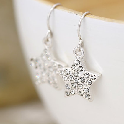 Silver plated crystal inset star drop earrings 03284