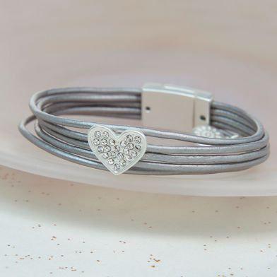 POM Grey Leather Silver Plated Crystal Heart Bracelet