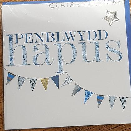 """Carden """"Penblwydd Hapus"""" Card  (Happy Birthday)Blue bunting"""