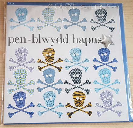 """Carden """"Penblwydd Hapus"""" Card  (Happy Birthday)Skull & Cross Bone"""