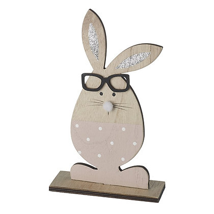 Pink Wooden Standing Rabbit with Glitter Ears